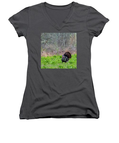 Women's V-Neck T-Shirt (Junior Cut) featuring the photograph Turkey And Cabbage Square by Bill Wakeley