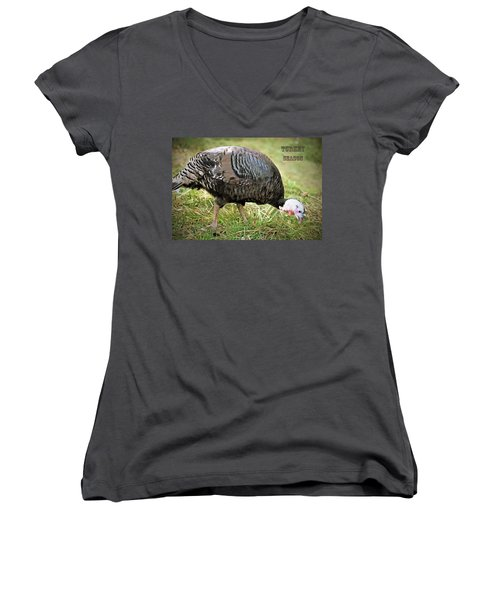 Turkey Season Women's V-Neck T-Shirt (Junior Cut) by Marion Johnson