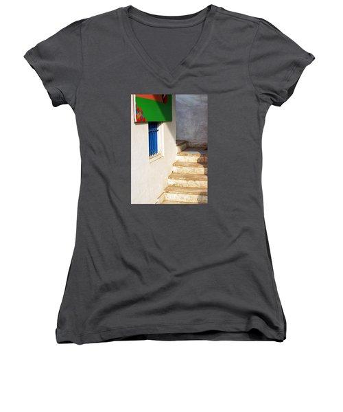 Turn Left Women's V-Neck T-Shirt (Junior Cut) by Prakash Ghai