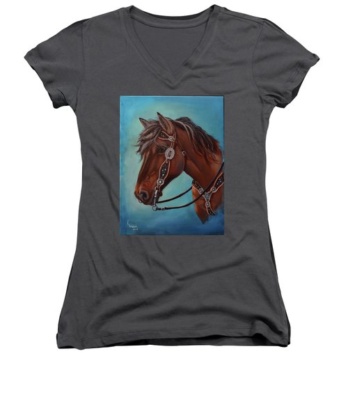 Turquoise And Silver Women's V-Neck (Athletic Fit)