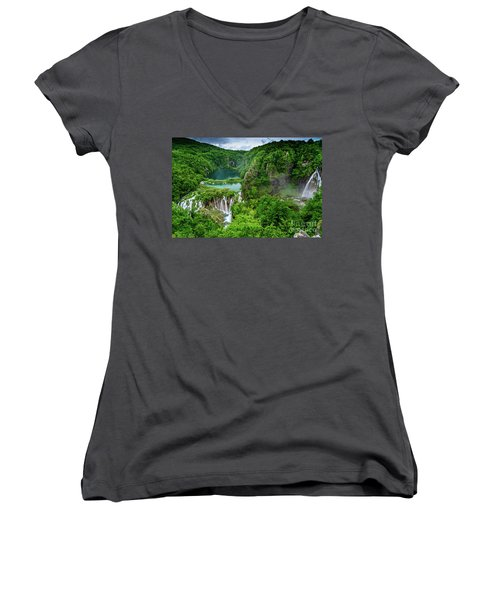 Turquoise Lakes And Waterfalls - A Dramatic View, Plitivice Lakes National Park Croatia Women's V-Neck