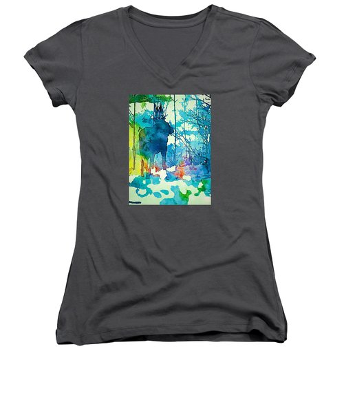 Turquoise Moose Women's V-Neck T-Shirt (Junior Cut) by Jan Amiss Photography