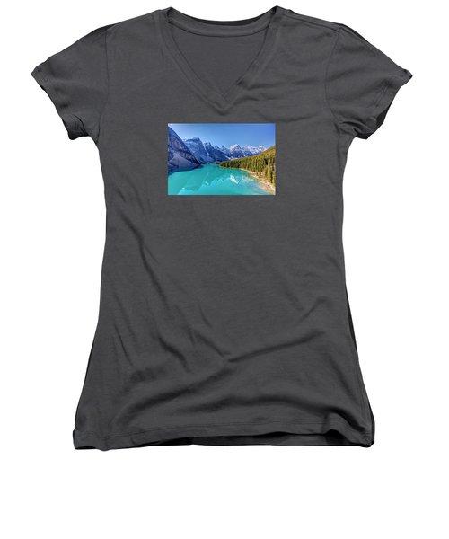 Turquoise Splendor Moraine Lake Women's V-Neck T-Shirt (Junior Cut) by Pierre Leclerc Photography