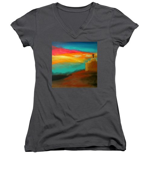 Turquoise Trail Sunset Women's V-Neck
