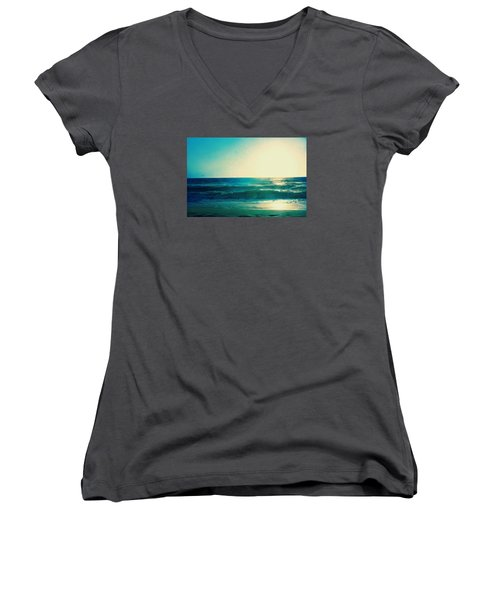 Turquoise Waves Women's V-Neck T-Shirt