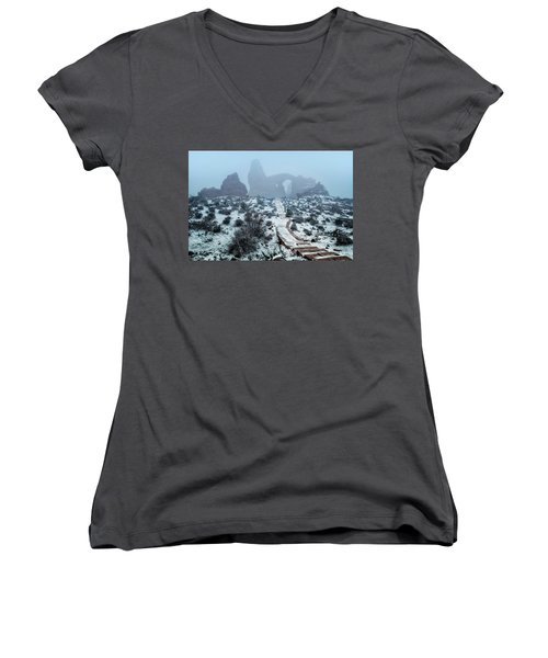 Turret Arch In The Fog Women's V-Neck