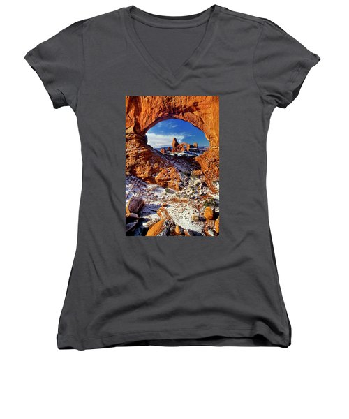 Women's V-Neck featuring the photograph Turret Arch Through North Window Arches National Park Utah by Dave Welling
