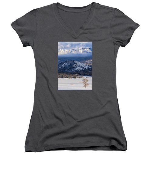Turret Ridge In Winter Women's V-Neck (Athletic Fit)