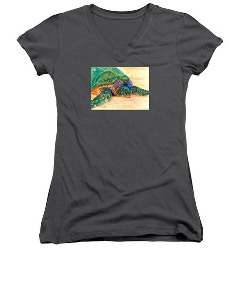 Women's V-Neck T-Shirt (Junior Cut) featuring the painting Turtle At Poipu Beach 7 by Marionette Taboniar