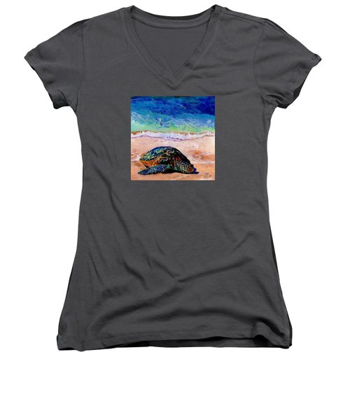 Women's V-Neck T-Shirt (Junior Cut) featuring the painting Turtle At Poipu Beach 9 by Marionette Taboniar