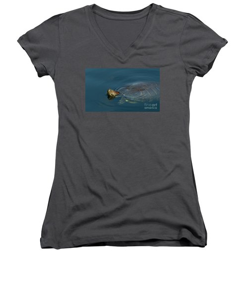 Turtle Floating In Calm Waters Women's V-Neck