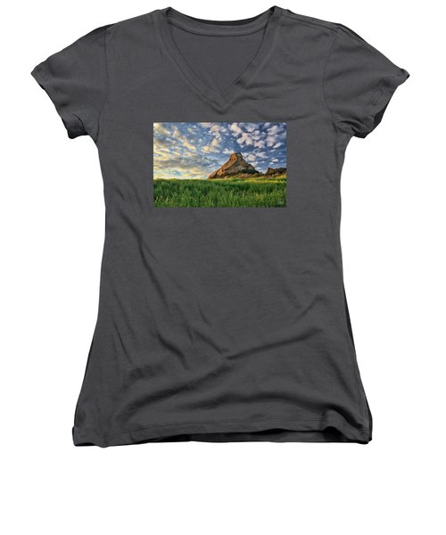 Turtle Rock At Sunset 2 Women's V-Neck T-Shirt (Junior Cut) by Endre Balogh