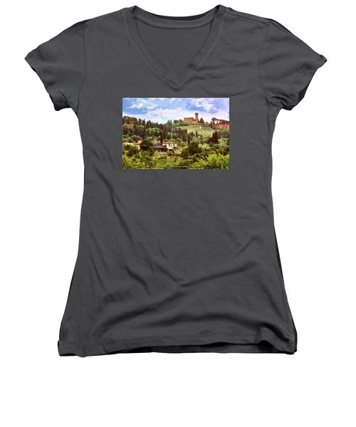 Tuscan Fields And Old Castle In Florence Women's V-Neck