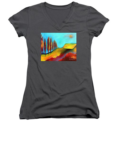 Tuscan Sentinels Women's V-Neck T-Shirt (Junior Cut) by Elizabeth Fontaine-Barr