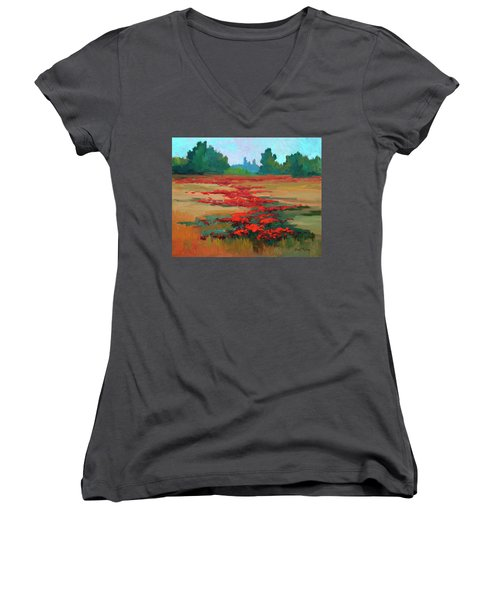 Tuscany Poppy Field Women's V-Neck T-Shirt (Junior Cut) by Diane McClary