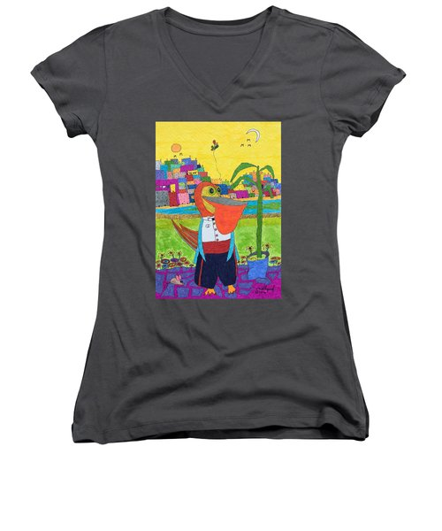Tuxedo Pelican Women's V-Neck T-Shirt