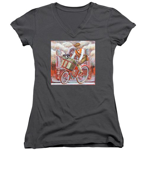 Tweed Runner On Red Pashley Women's V-Neck T-Shirt (Junior Cut) by Mark Jones