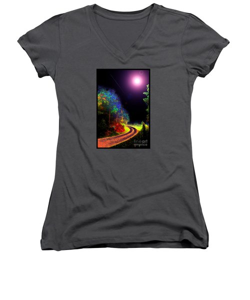 Women's V-Neck T-Shirt (Junior Cut) featuring the photograph Twelve Dimensions Of Harmonic Delight by Susanne Still