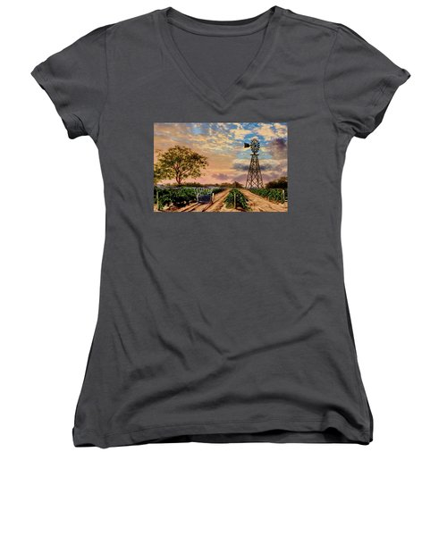 Twilight At The Vineyard Women's V-Neck T-Shirt (Junior Cut) by Ron Chambers
