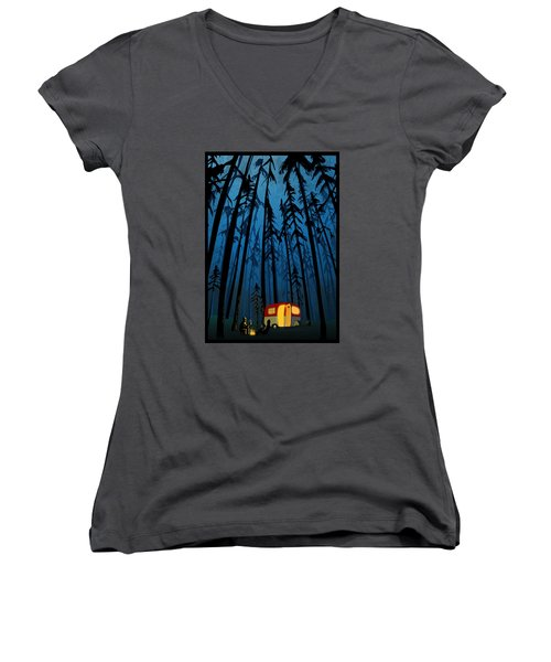 Twilight Camping Women's V-Neck (Athletic Fit)