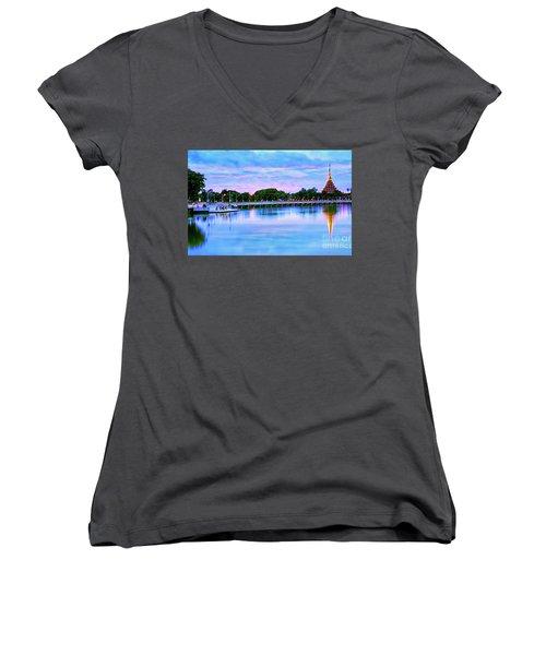 Twilight City Lake View Women's V-Neck