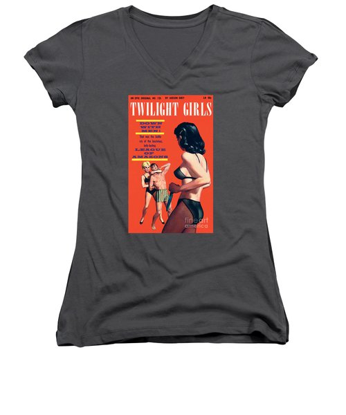 Women's V-Neck T-Shirt (Junior Cut) featuring the painting Twilight Girls by Doug Weaver