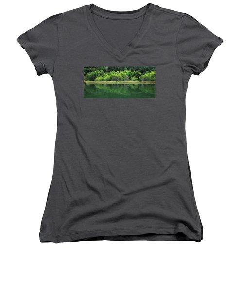 Twilight Glow Women's V-Neck T-Shirt (Junior Cut) by Donna Blackhall