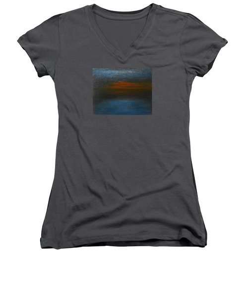Women's V-Neck T-Shirt (Junior Cut) featuring the painting Twilight by Jane See