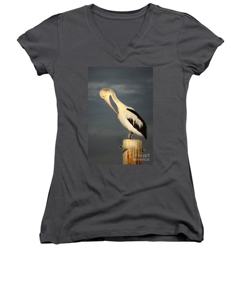Women's V-Neck T-Shirt (Junior Cut) featuring the photograph Twilight by Marion Cullen