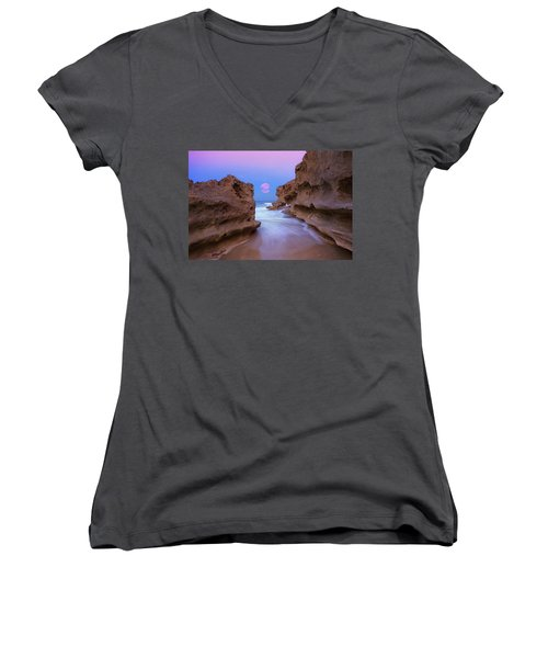 Women's V-Neck T-Shirt (Junior Cut) featuring the photograph Twilight Moon Rising Over Hutchinson Island Beach Rocks by Justin Kelefas