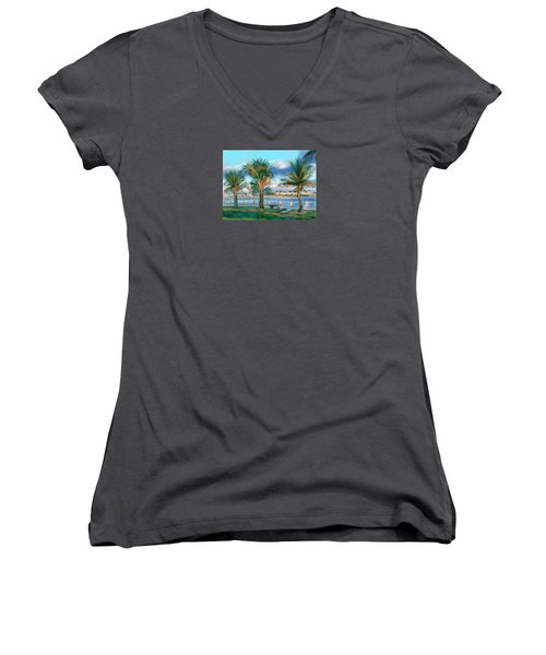 Women's V-Neck T-Shirt (Junior Cut) featuring the digital art Twilight On Saw Fish Bay by Jean Pacheco Ravinski