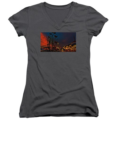 Women's V-Neck T-Shirt (Junior Cut) featuring the photograph Twilight On The Midway  by John Harding