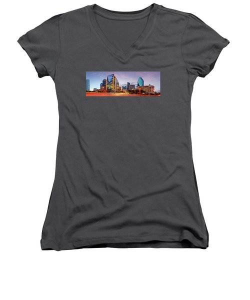 Twilight Panorama Of Downtown Dallas Skyline - North Akard Street Dallas Texas Women's V-Neck (Athletic Fit)