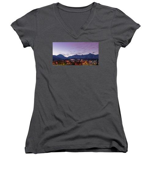 Twilight Panorama Of Estes Park, Stanley Hotel, Castle Mountain And Lumpy Ridge - Rocky Mountains  Women's V-Neck