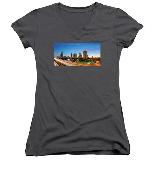 Twilight Panorama Of Uptown Houston Business District And Galleria Area Skyline Harris County Texas Women's V-Neck