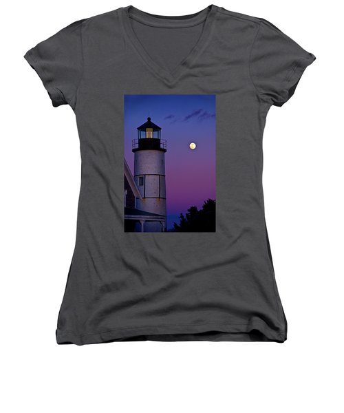 Twilight At Sandy Neck Lighthouse Women's V-Neck
