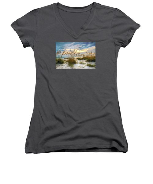 Twilight Sea Oats Women's V-Neck (Athletic Fit)