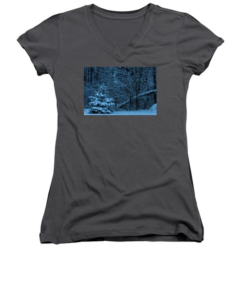 Women's V-Neck T-Shirt (Junior Cut) featuring the photograph Twilight Snow by Trey Foerster