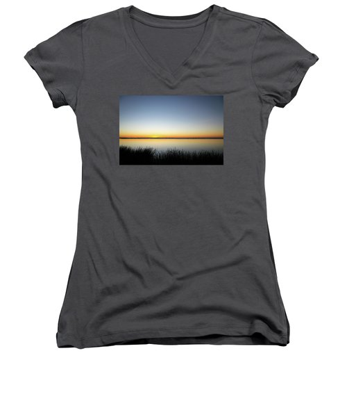 Twilight Stillness Down By The Beach Lagoon Women's V-Neck (Athletic Fit)