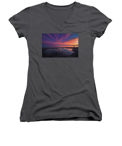 Twilight Time Women's V-Neck T-Shirt (Junior Cut) by Ralph Vazquez
