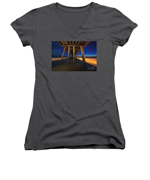 Twilight Under The Imperial Beach Pier San Diego California Women's V-Neck