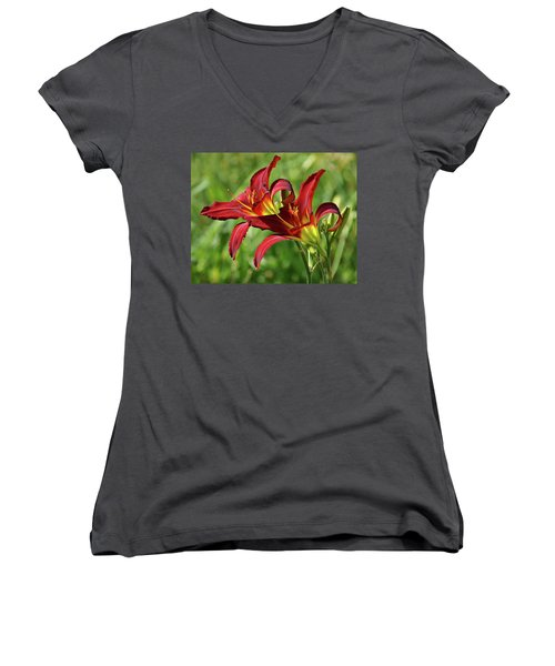 Women's V-Neck T-Shirt (Junior Cut) featuring the photograph Twin Daylilies by Sandy Keeton