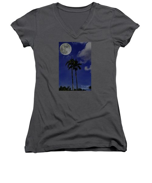 Twin Palms Women's V-Neck T-Shirt (Junior Cut) by Ken Frischkorn