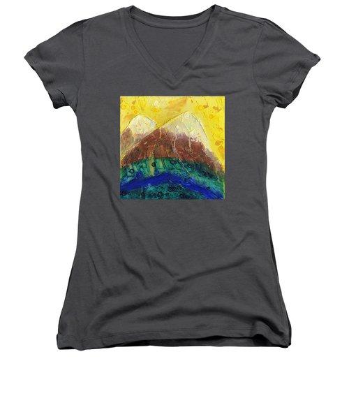 Twin Peaks I Women's V-Neck T-Shirt (Junior Cut) by Phil Strang