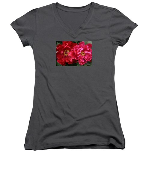 Twin Peonies Women's V-Neck T-Shirt (Junior Cut) by Bruce Bley