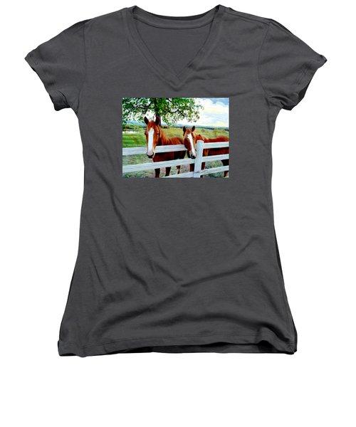 Twin Ponies Women's V-Neck T-Shirt