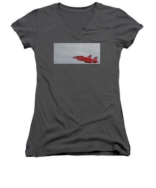 Women's V-Neck T-Shirt featuring the photograph Twin Red Arrows Taking Off - Teesside Airshow 2016 by Scott Lyons