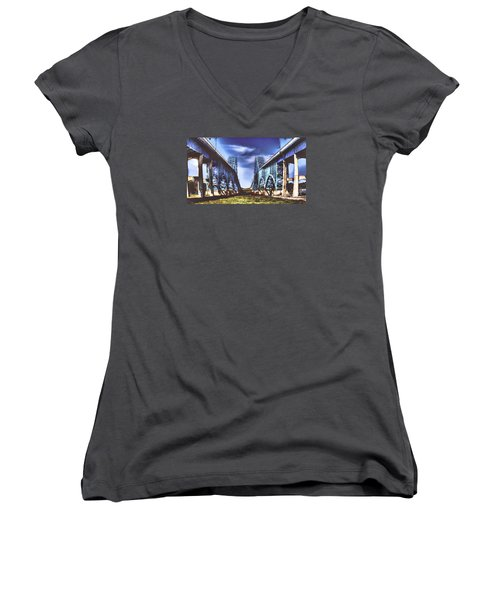 Women's V-Neck T-Shirt (Junior Cut) featuring the photograph Twin Spanned Arched by Jim Lepard