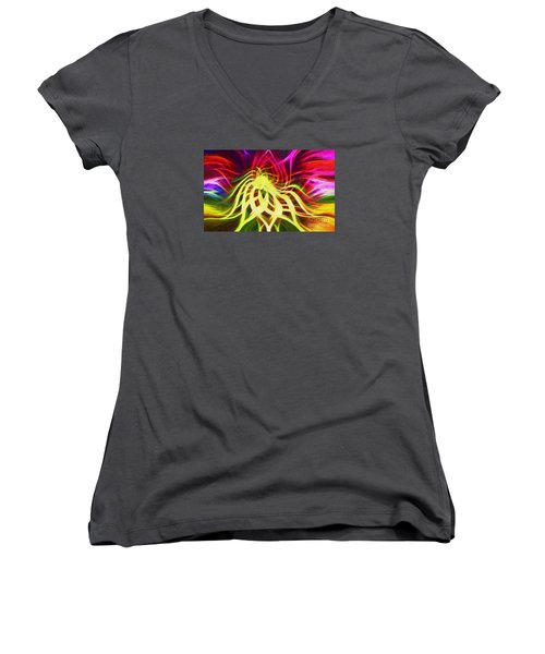 Women's V-Neck T-Shirt (Junior Cut) featuring the photograph Twirly Mandala 01 by Jack Torcello