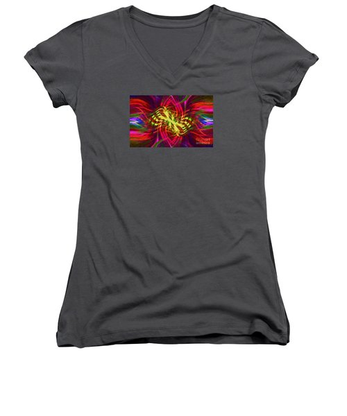Women's V-Neck T-Shirt (Junior Cut) featuring the photograph Twirly Mandala 02 by Jack Torcello